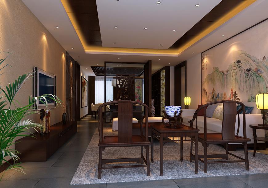 枫叶新都市140平三居室新中式风格